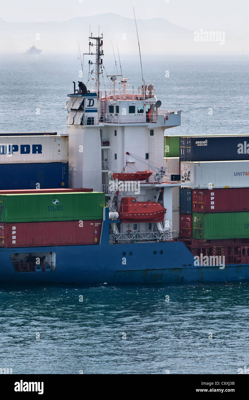 Container ship side view. 'Gertrud'. Gibraltar, Mediterranean, Europe - Stock Image