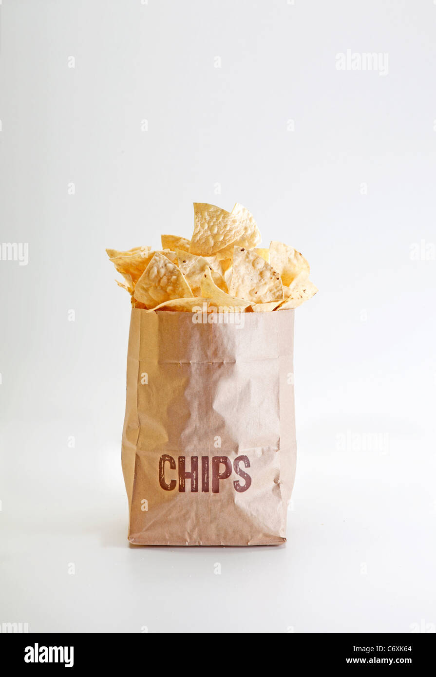 bag of Chipotle brand restaurant chips - Stock Image