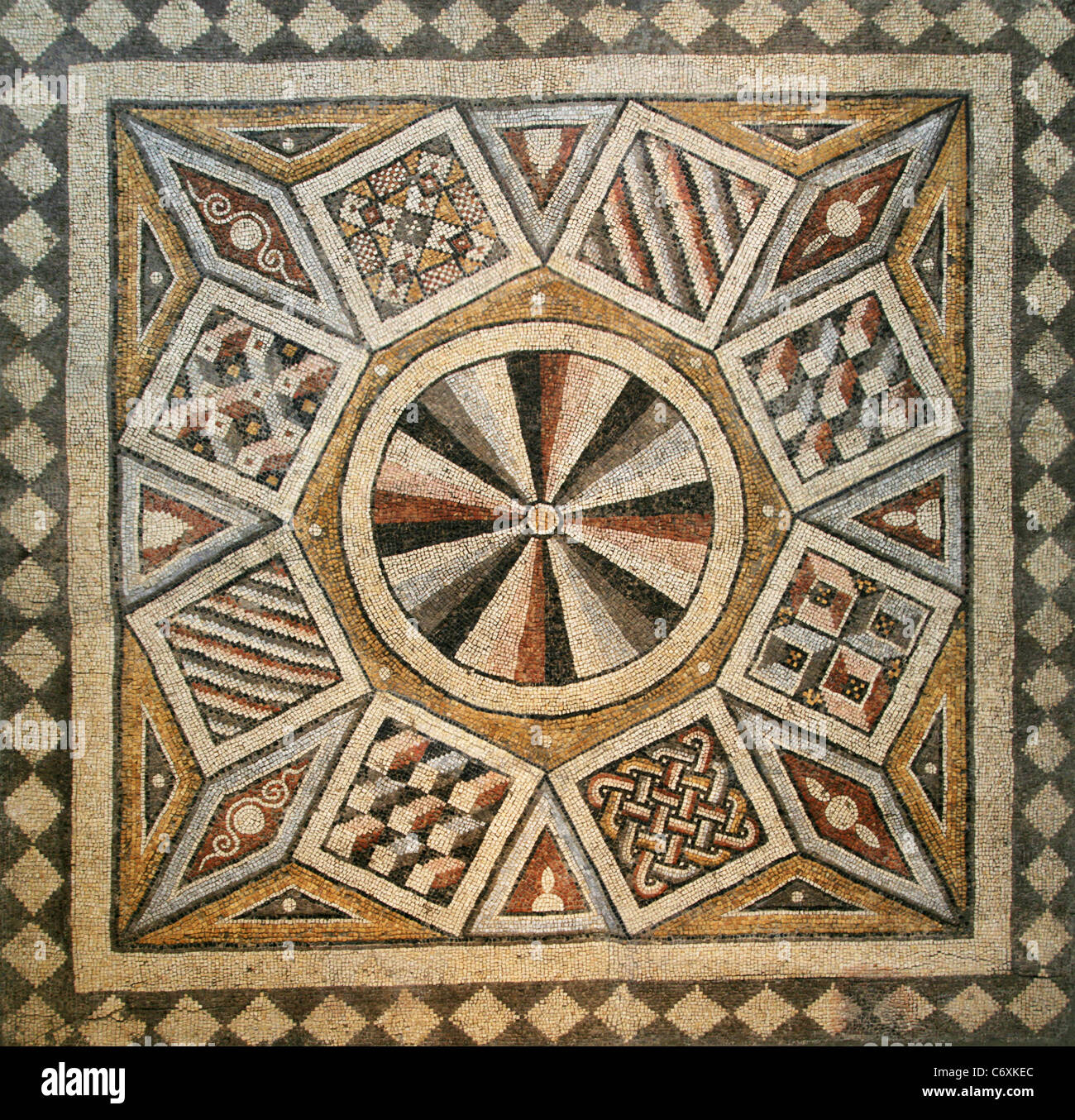 Roman Mosaic Tile Floor With Geometric Pattern Stock Photo