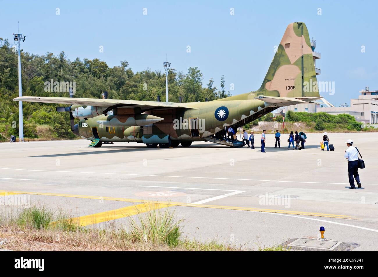 Lockheed C-130 Hercules military transport aircraft, Kinmen, Taiwan - Stock Image