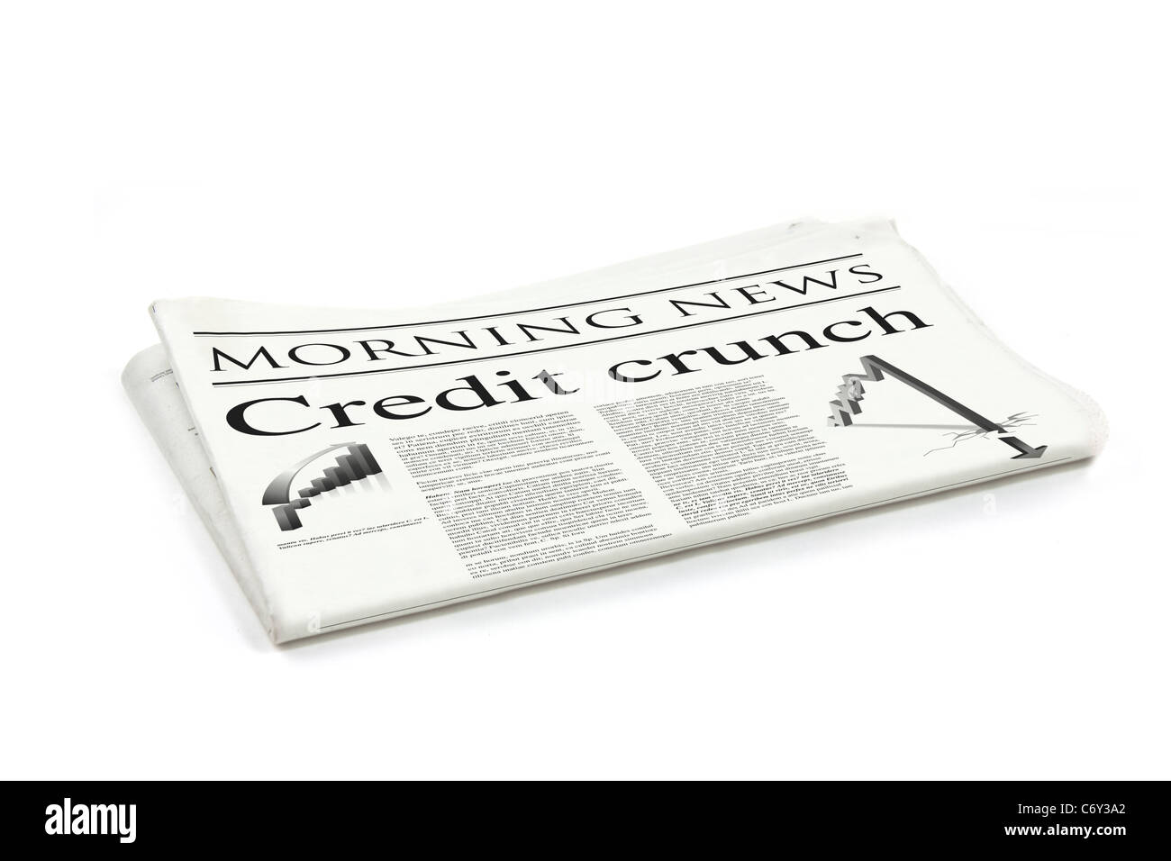credit crunch headline on a generic design newspaper stock photo