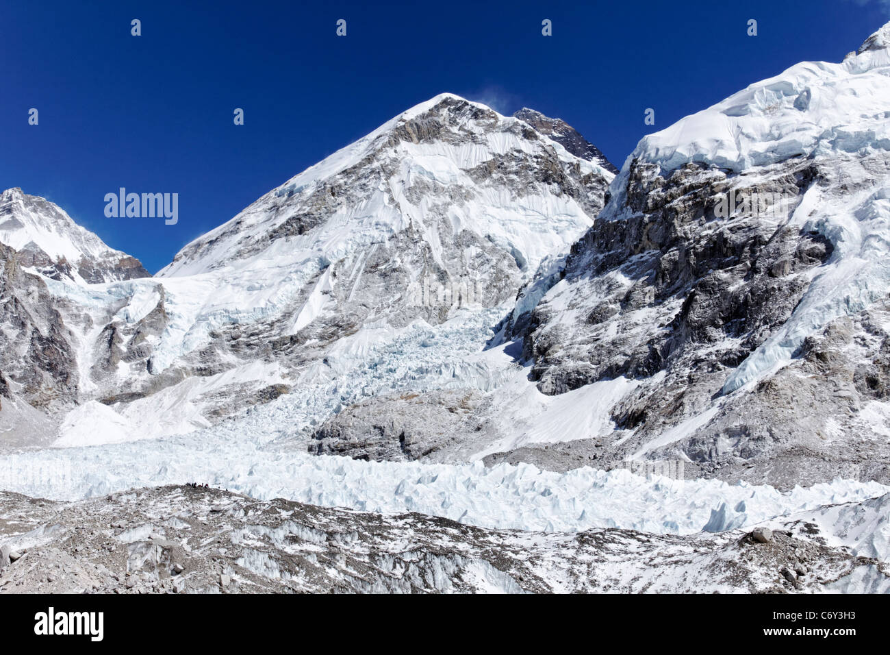 View of Everest Base Camp and the Khumbu Glacier, Everest Region, Nepal - Stock Image