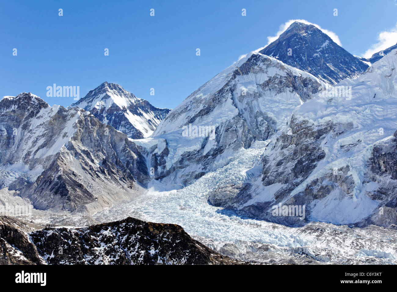 View of Mount Everest from the summit of Kala Pathar, Everest Region, Nepal - Stock Image