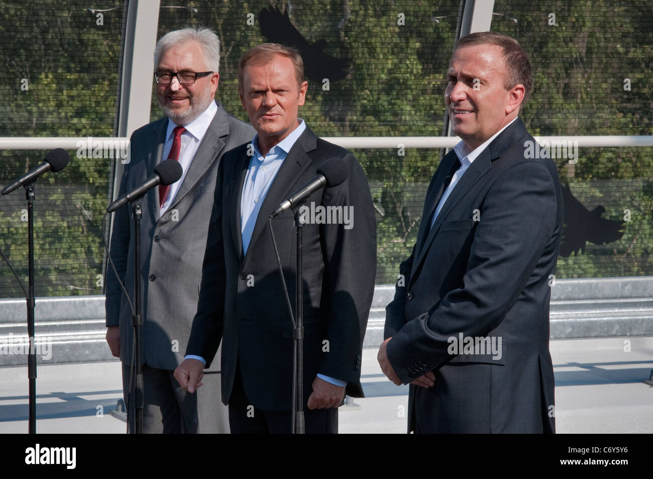 Prime Minister of Poland Donald Tusk speaking at opening day at new Redzinski Bridge in Wrocław, Lower Silesia, - Stock Image