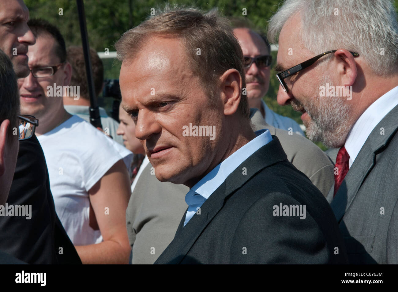 Prime Minister of Poland Donald Tusk mixing with crowd, opening day at new Redzinski Bridge in Wrocław, Lower Silesia, - Stock Image