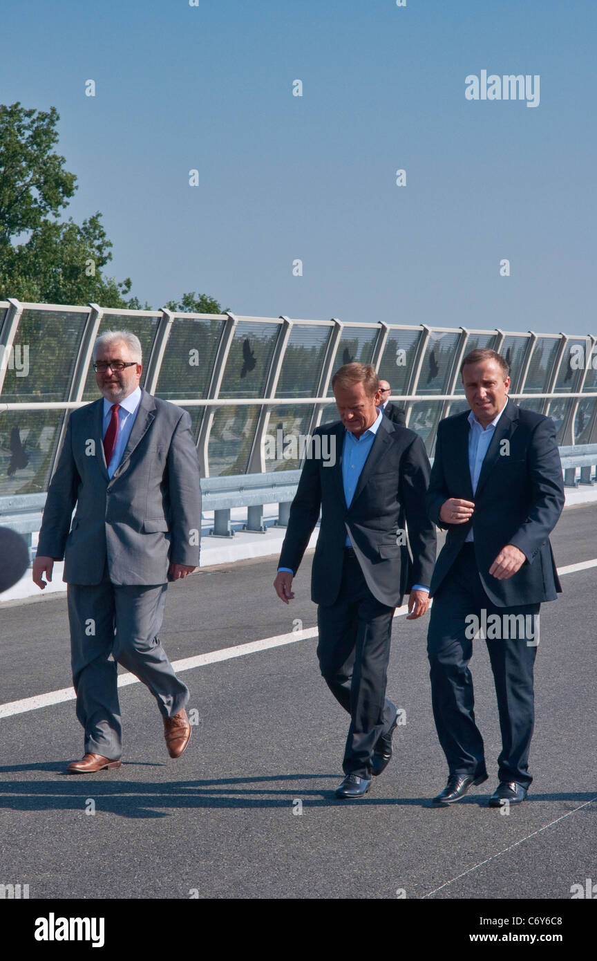 Prime Minister of Poland Donald Tusk, opening day at new Redzinski Bridge in Wrocław, Lower Silesia, Poland - Stock Image