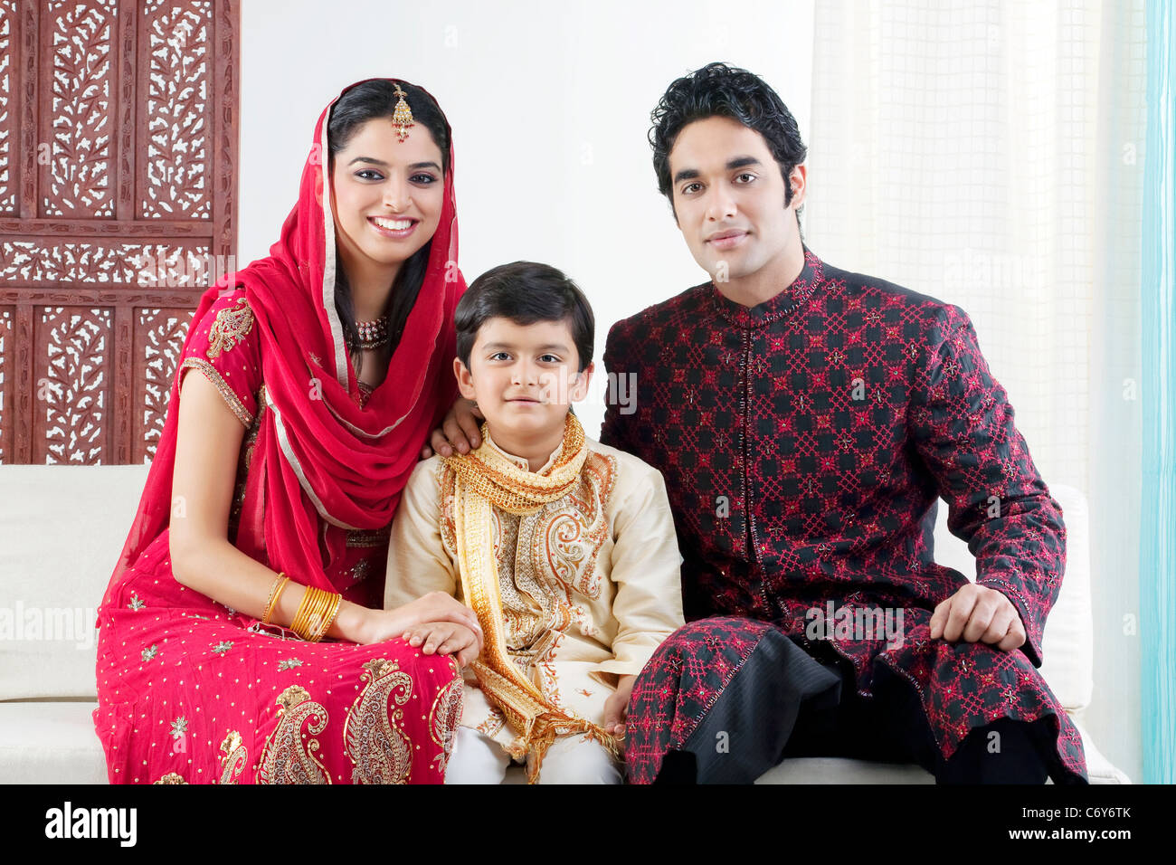 Portrait of a Muslim family - Stock Image