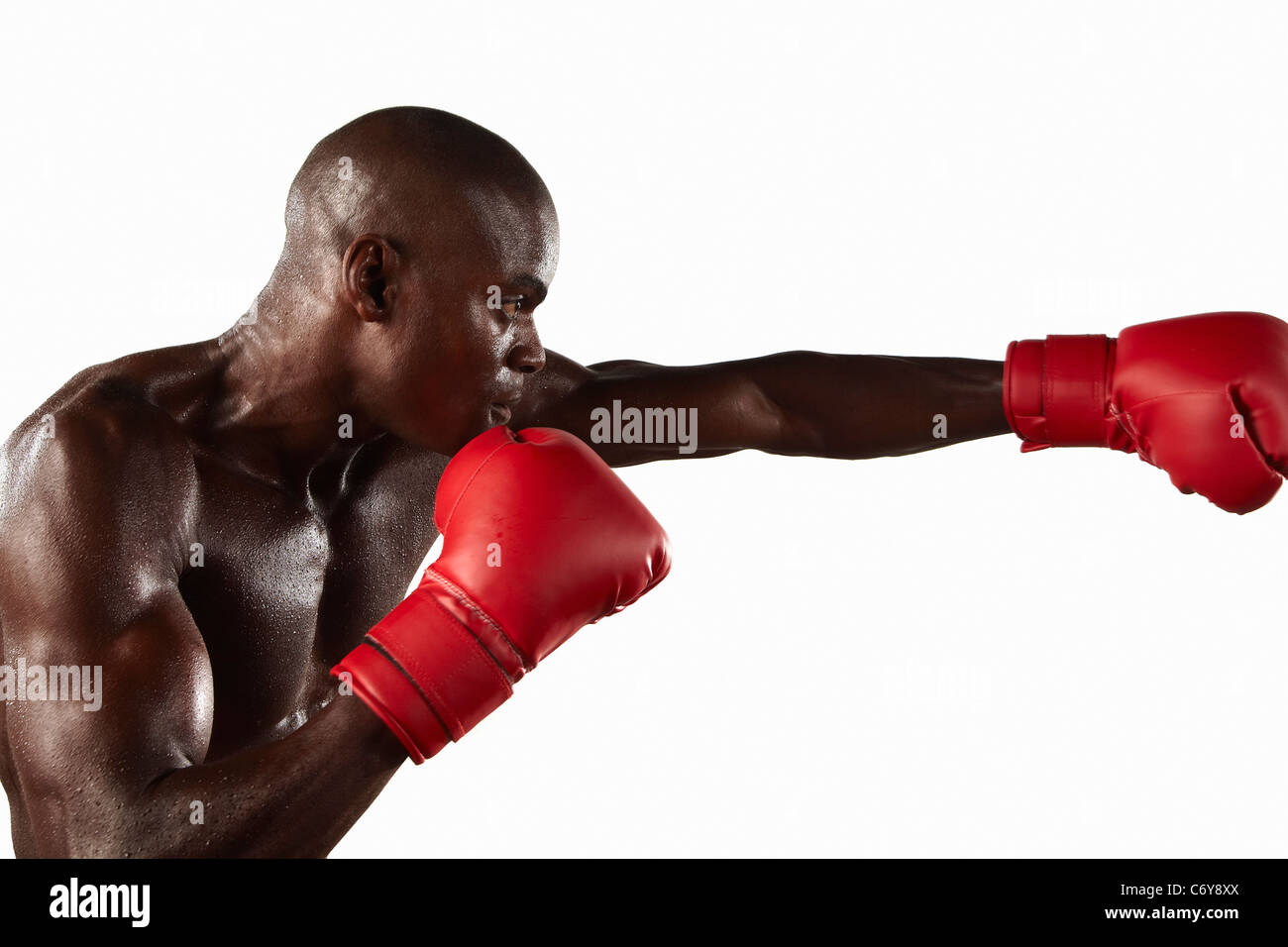 Boxer punching the air - Stock Image