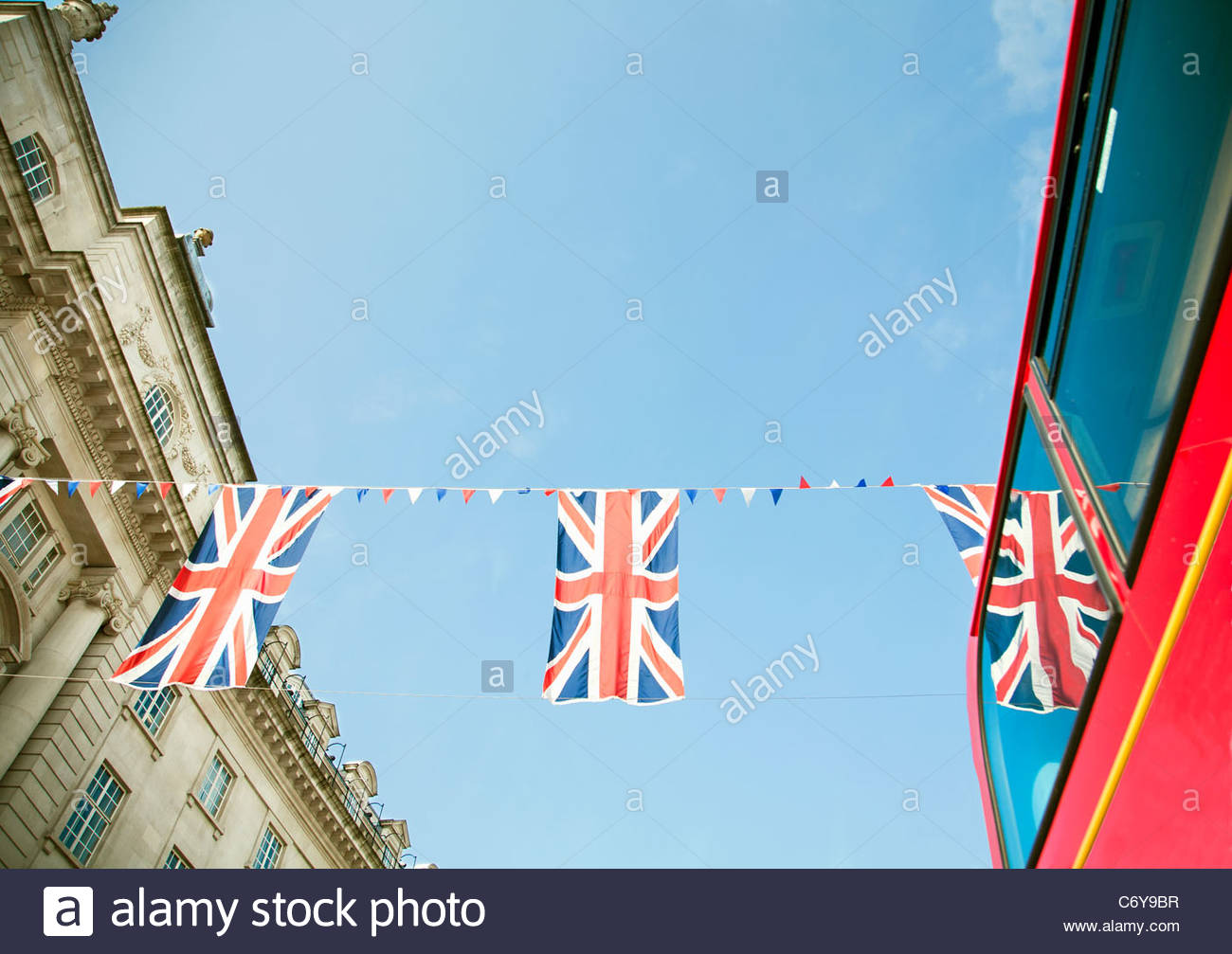Union Jack flags hanging in London - Stock Image