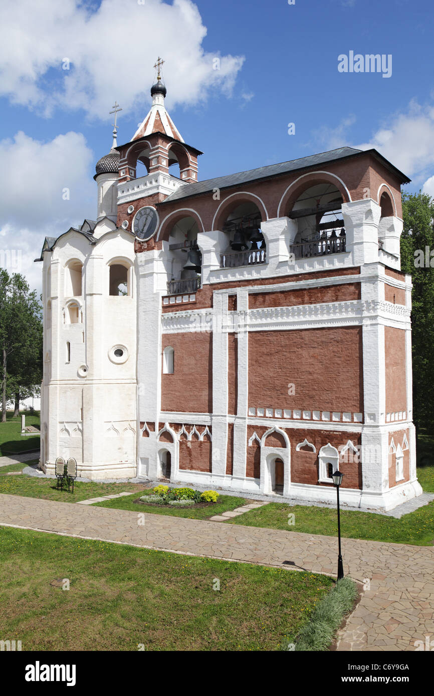 Belfry of monastery of our Saviour and St. Euthimius in Suzdal, Russia - Stock Image