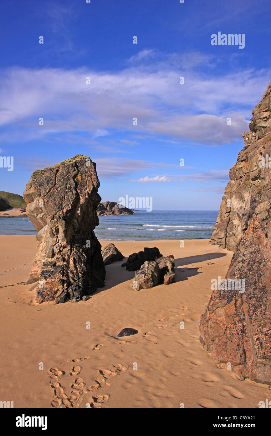 UK Scotland Outer Hebrides Isle of Lewis Mangersta Beach rock stack - Stock Image