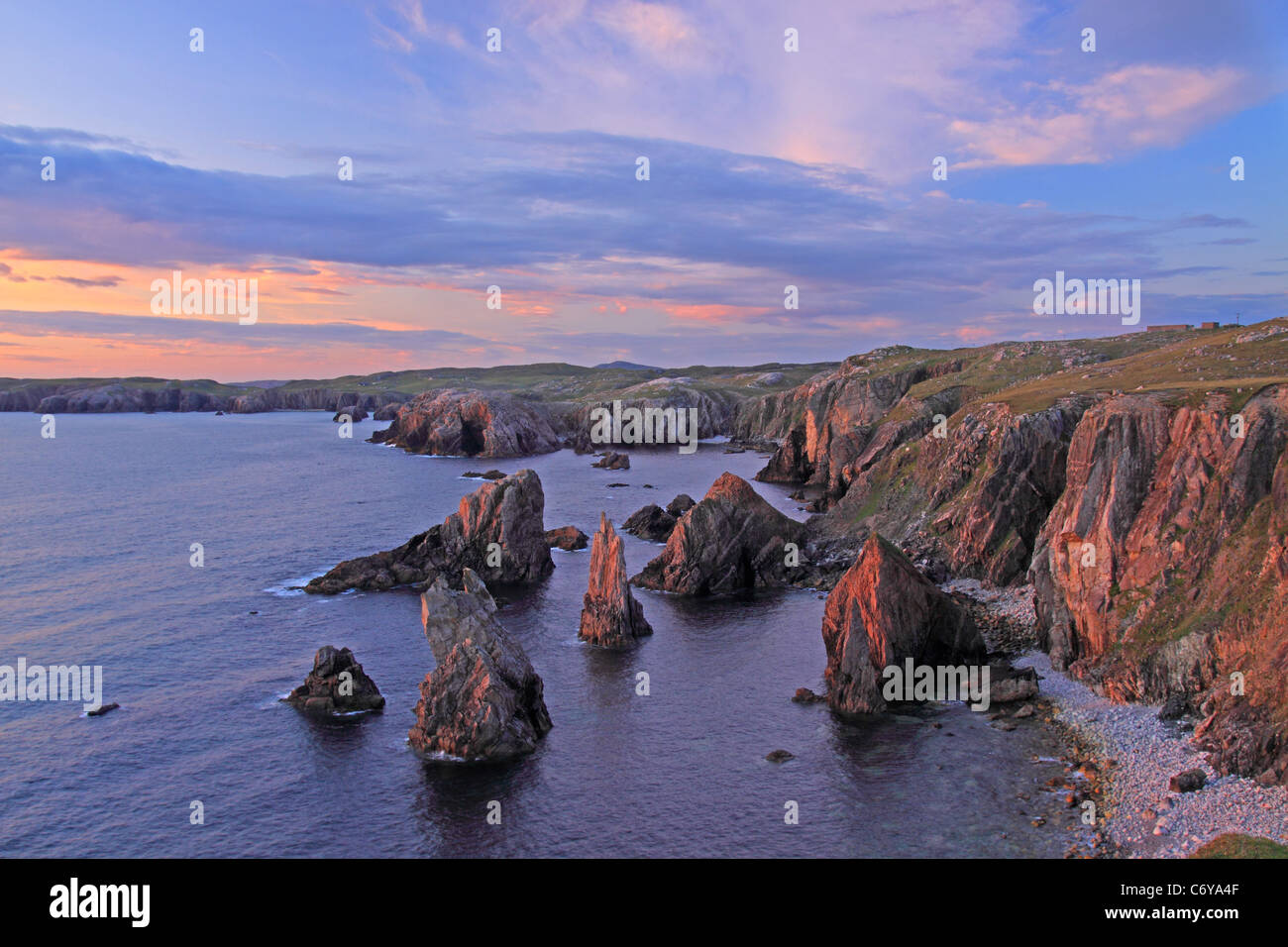 UK Scotland Outer Hebrides Isle of Lewis Mangersta sea Stacks - Stock Image