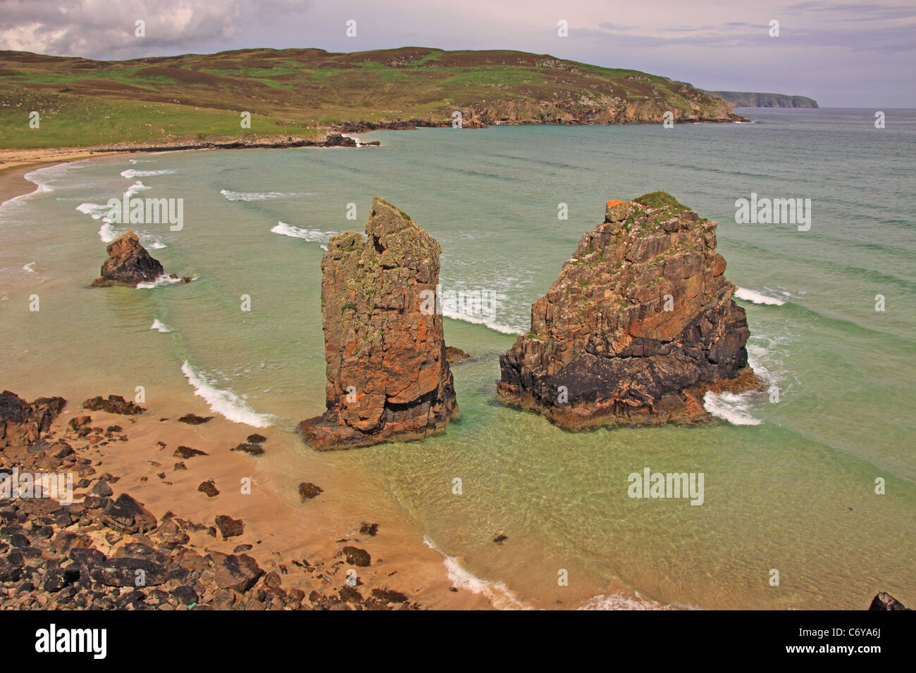 UK Scotland Outer Hebrides Isle of Lewis Tolsa Beach and Rock Stacks - Stock Image