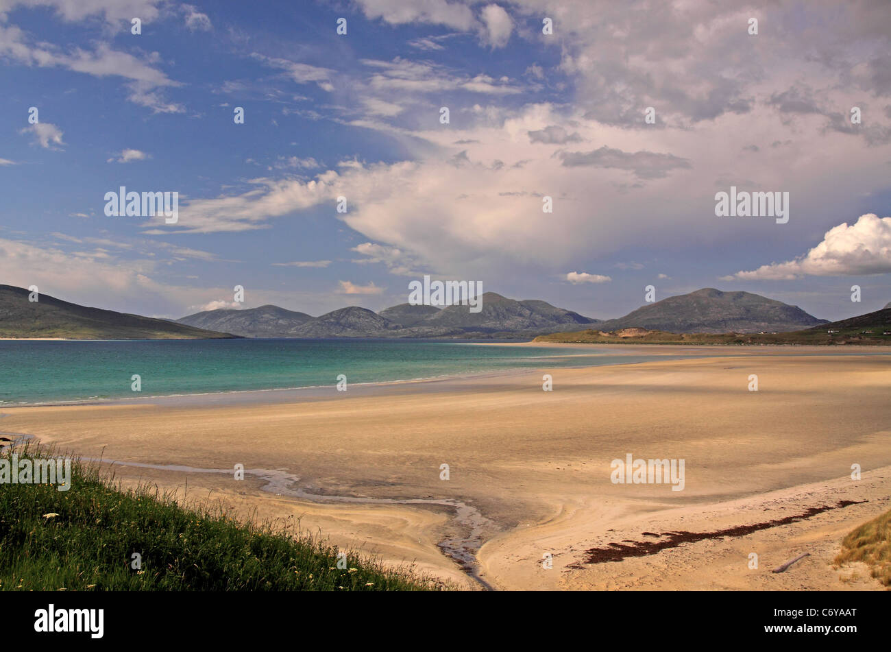 UK Scotland Outer Hebrides Isle of Harris Seilbost Bay and the Harris Mountains Stock Photo