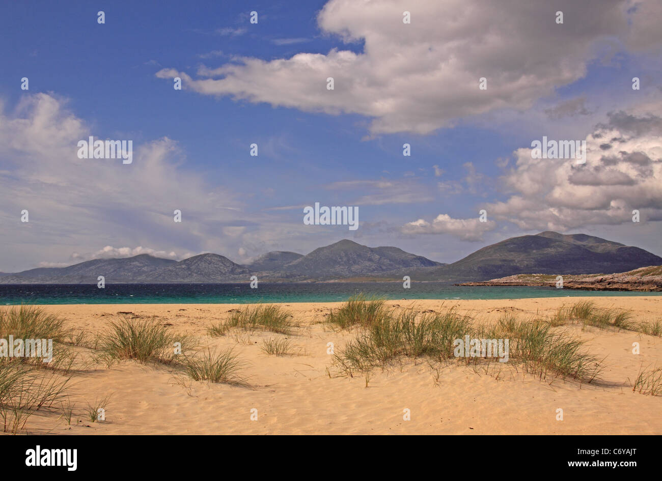 UK Scotland Outer Hebrides Isle of Harris Luskentyre beach and the Harris Mountains - Stock Image