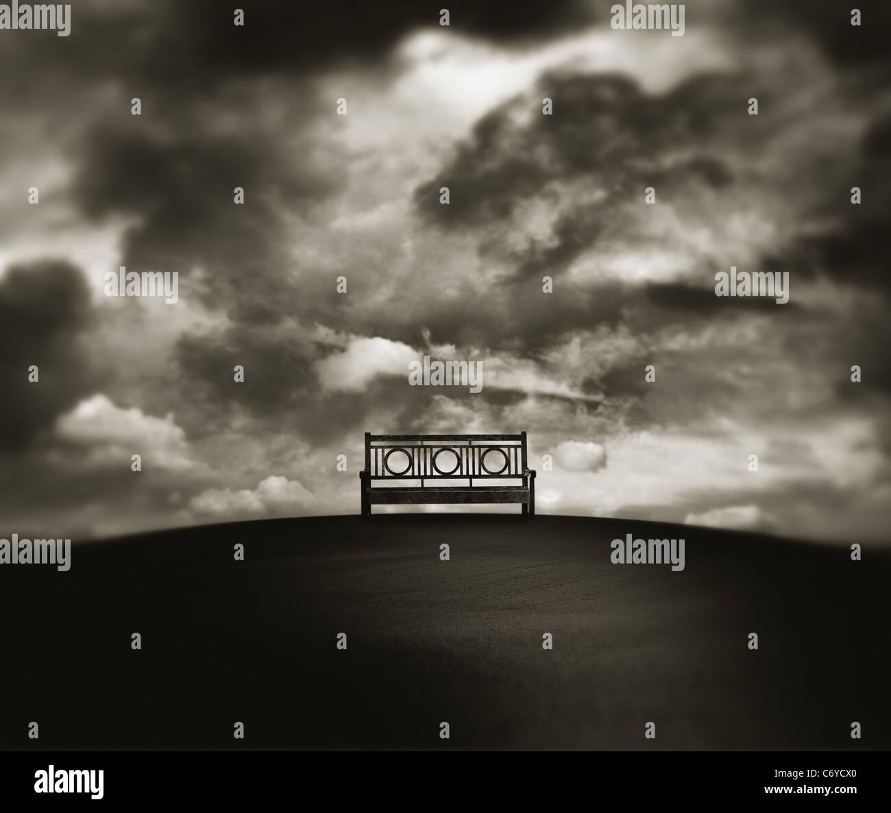empty park bench - Stock Image