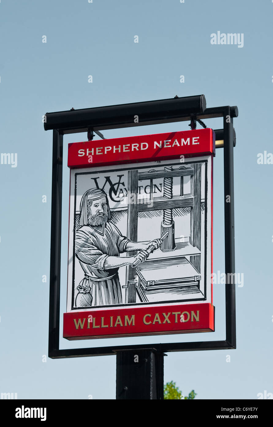 The William Caxton Shepherd Neame Pub Sign UK Pubs Signs - Stock Image
