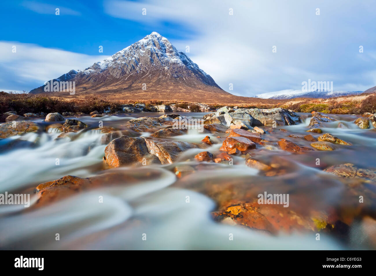 Buachaille Etive Mor and River Coupall Scottish Highlands Scotland UK - Stock Image