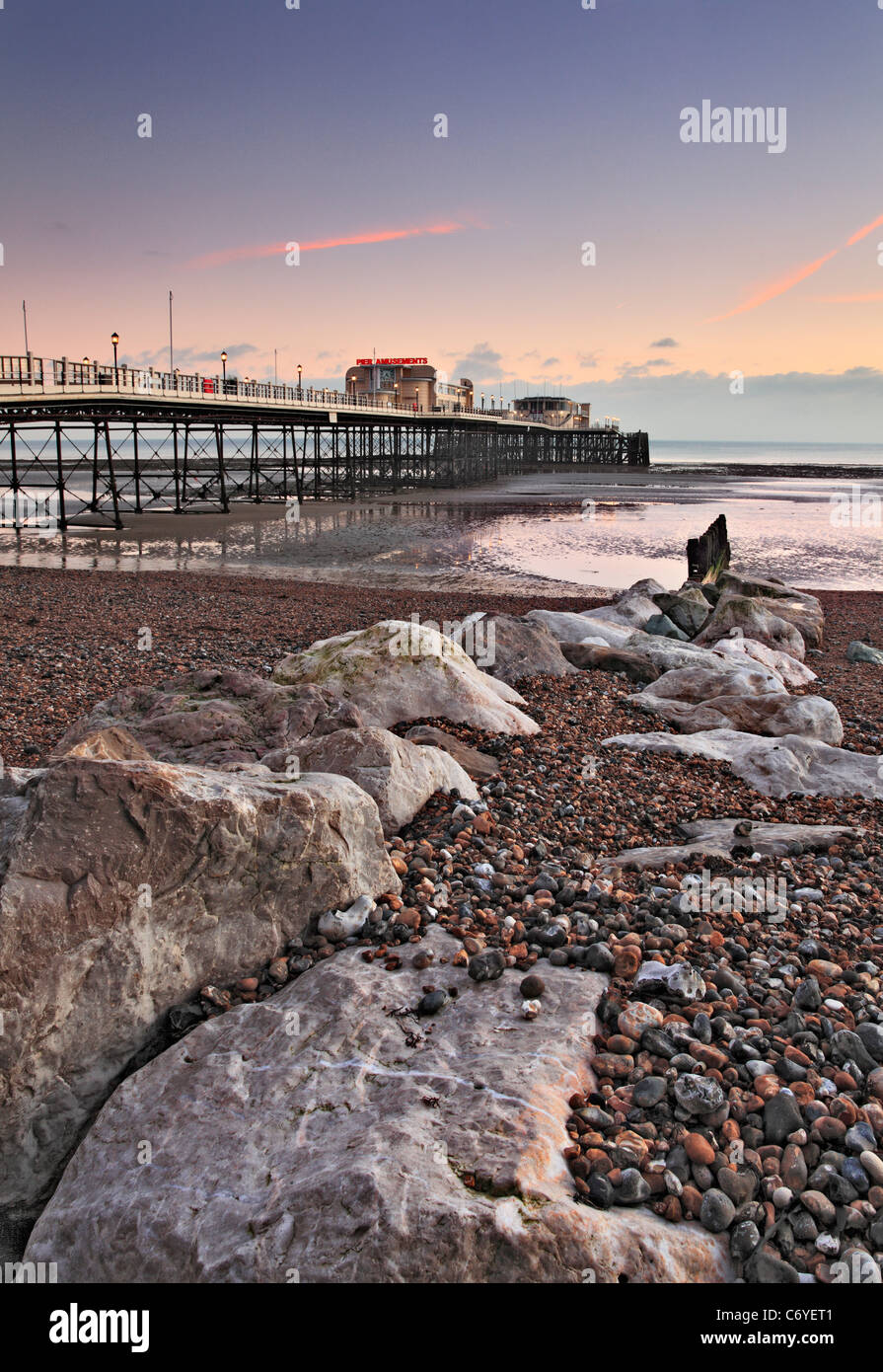 Worthing Pier at Dusk,West Sussex - Stock Image