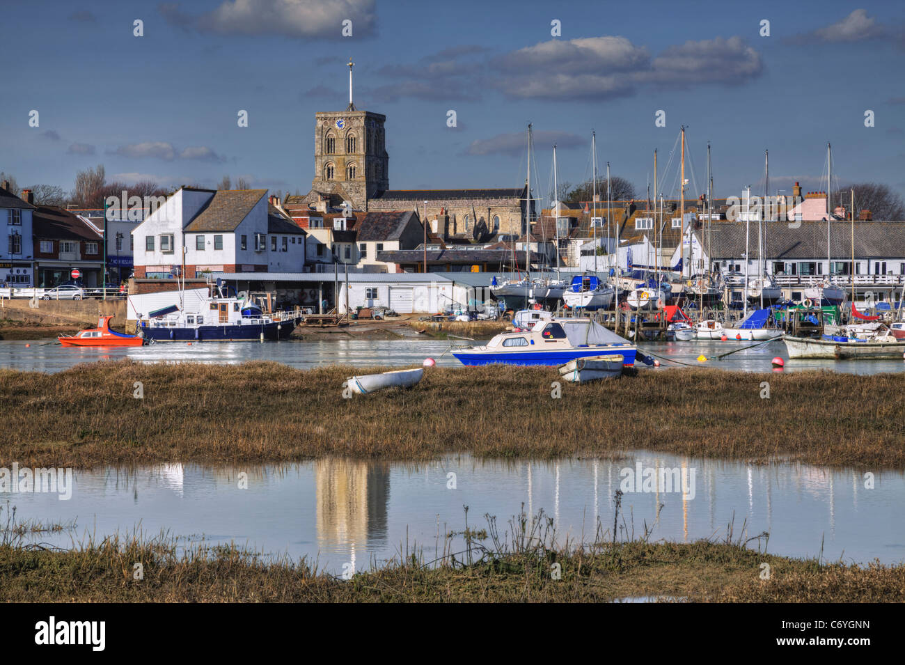 View of River Adur, Church of St Mary de haura and Shoreham town, West Sussex Stock Photo