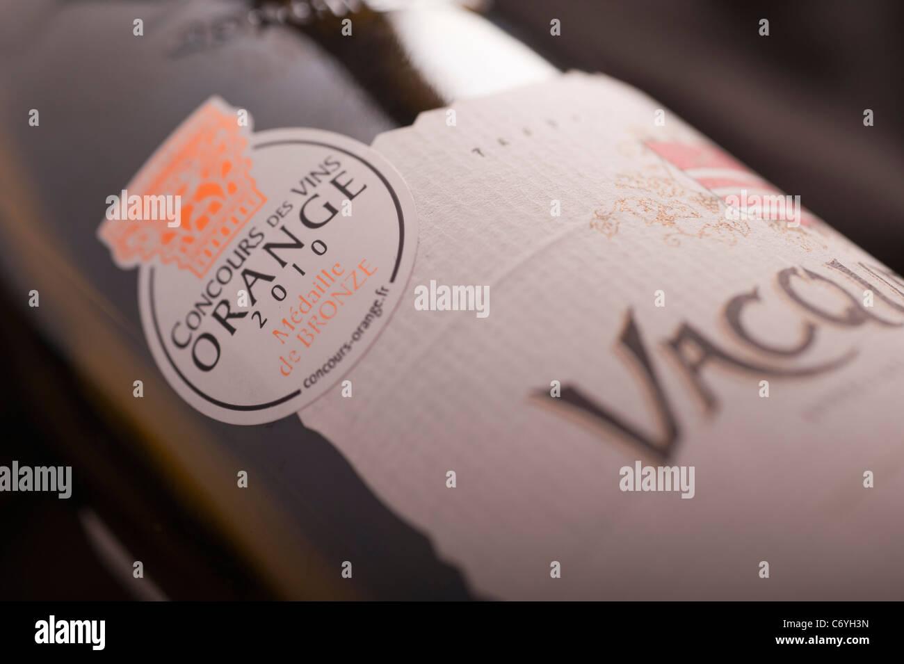 Bronze Medal label, Concours des Vins Orange 2010 on a bottle of Remy Ferbras Vacqueyras - Stock Image