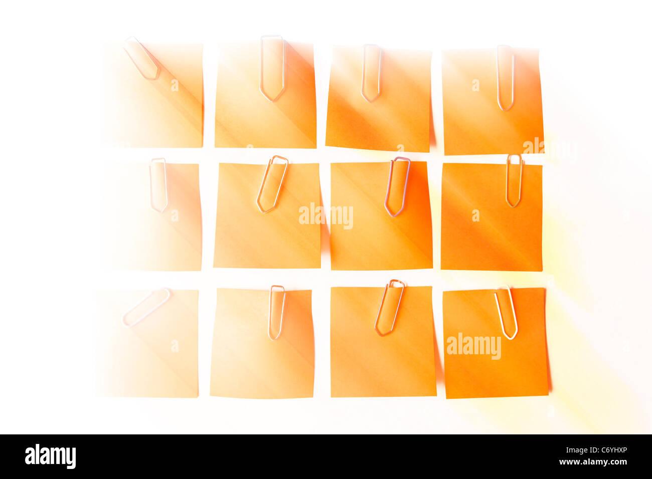 digital enhancement - arrangement of memorandum memory post-it with paper clips - Stock Image
