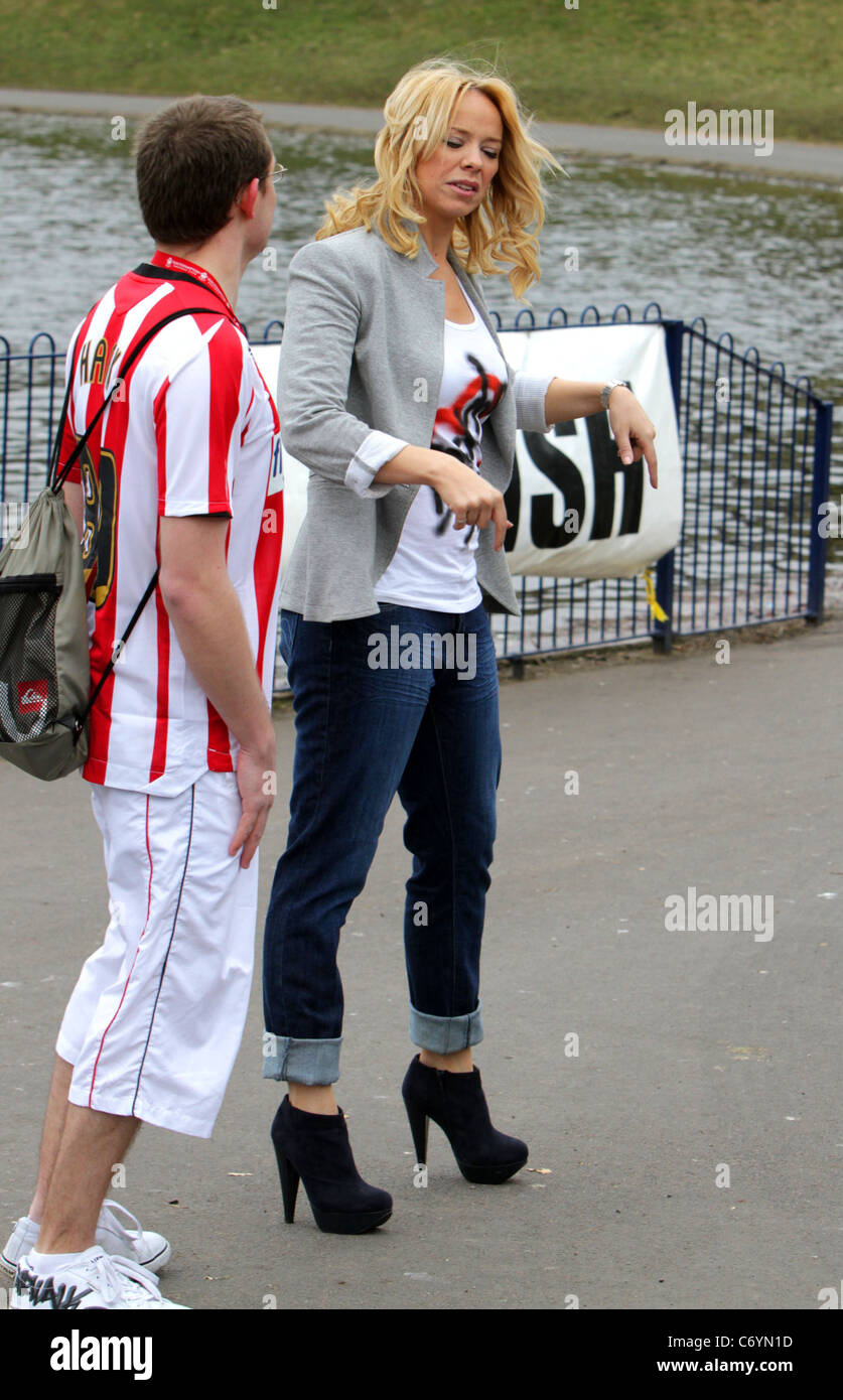 Liz McClarnon hosts a Sport Relief 'warm-up walk' at Sefton Park ahead of Sainsbury's Sport Relief Mile, - Stock Image