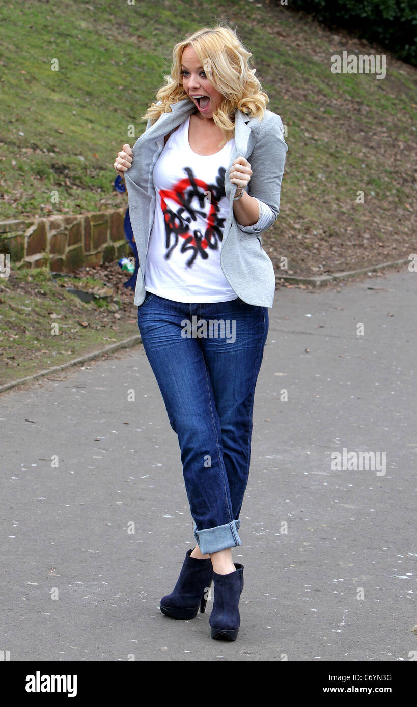 Liz McClarnon hosts a Sport Relief 'warm-up walk' at Sefton Park ahead of Sainsbury's Sport Relief Mile, which will Stock Photo