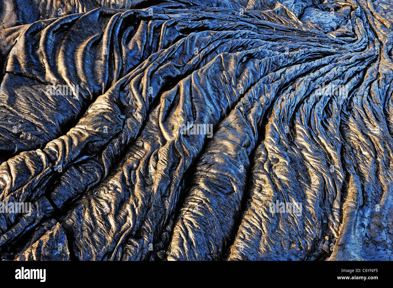 Cooled pahoehoe lava flow, Kilauea Volcano, Big Island, Hawaii, Usa - Stock Image