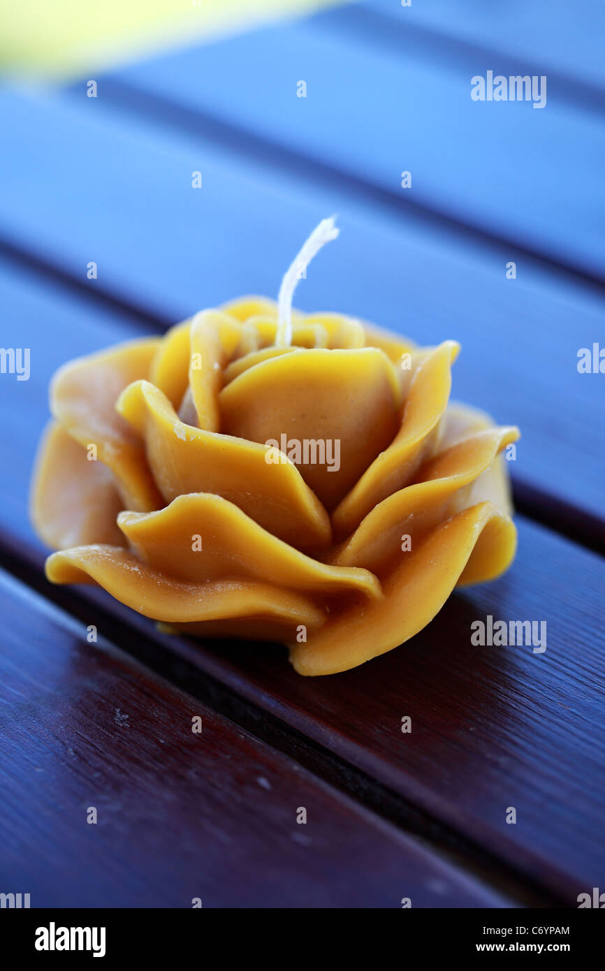 Candle made of beeswax Greece - Stock Image