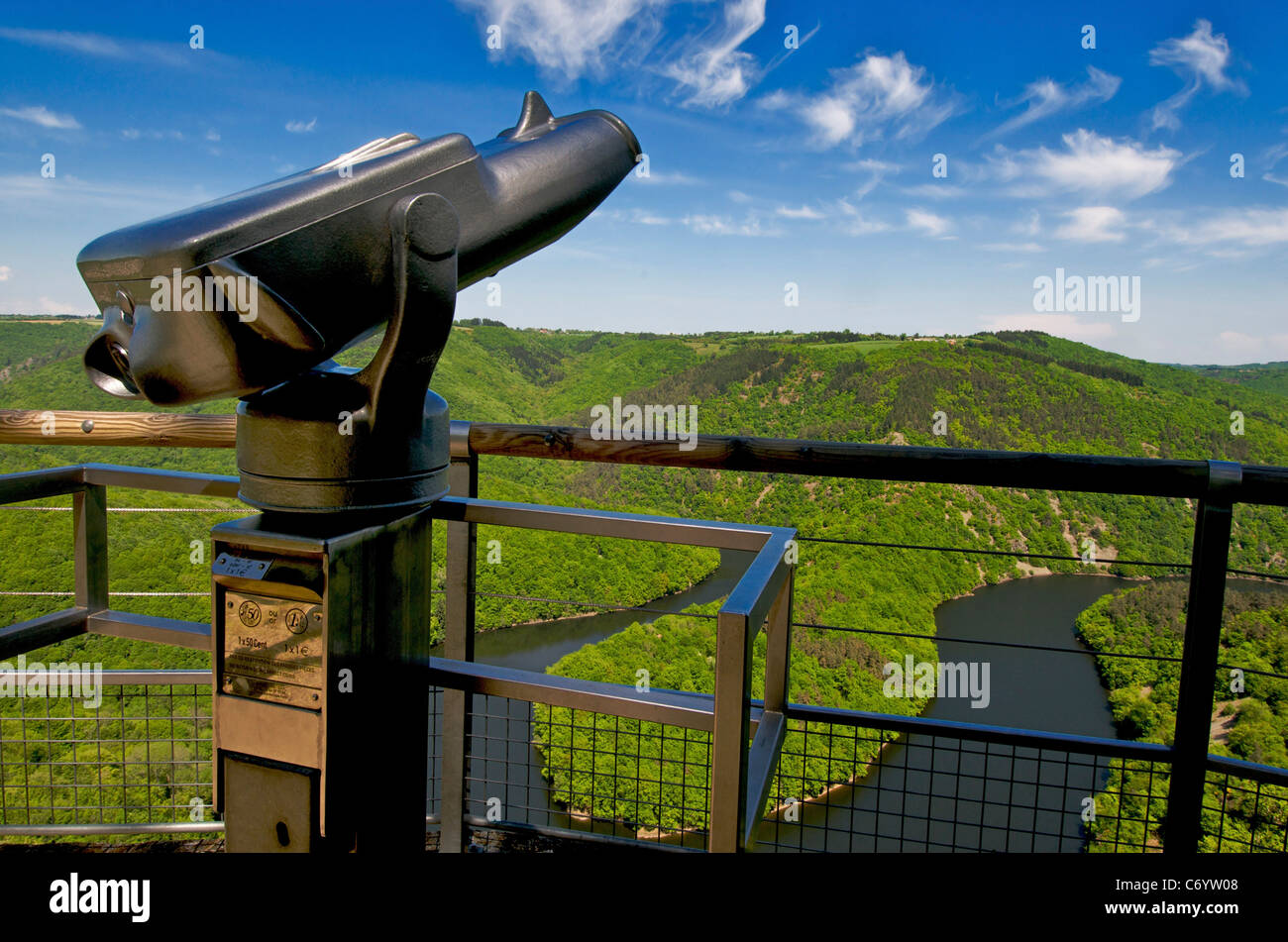 Telescope with view on meander of Queuille, Auvergne, France, Europe - Stock Image