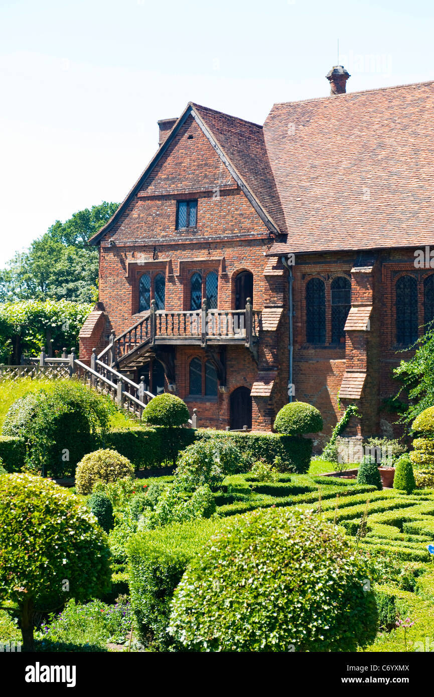 Hatfield House , rear entrance & stairs to The Old Palace & Garden detail - Stock Image