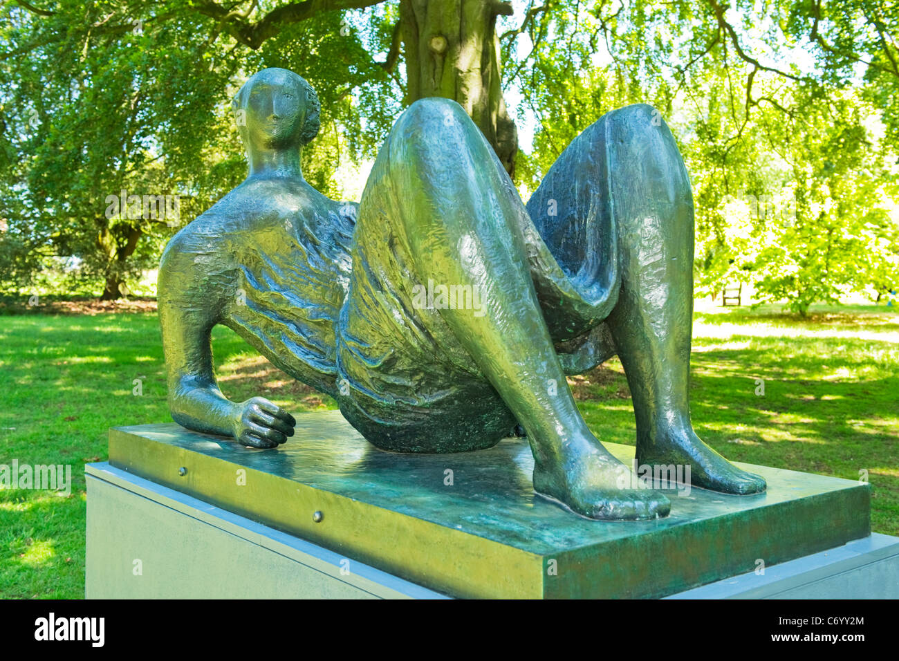 Henry Moore exhibition , modern contemporary sculptures & statues , West Garden , Hatfield house 1953 Draped - Stock Image