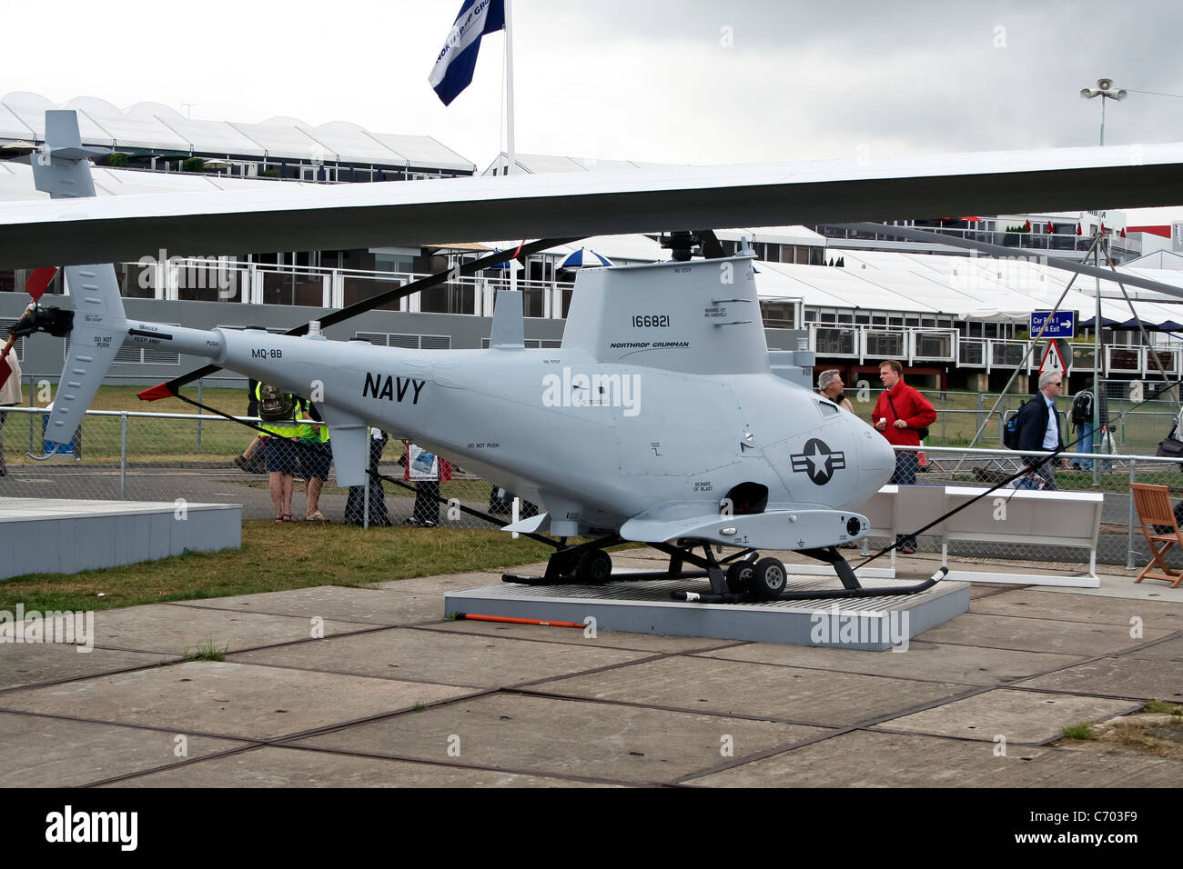 MQ-8B Fire Scout VTUAV Unmanned Aerial Vehicle at the Farnborough International Airshow - Stock Image