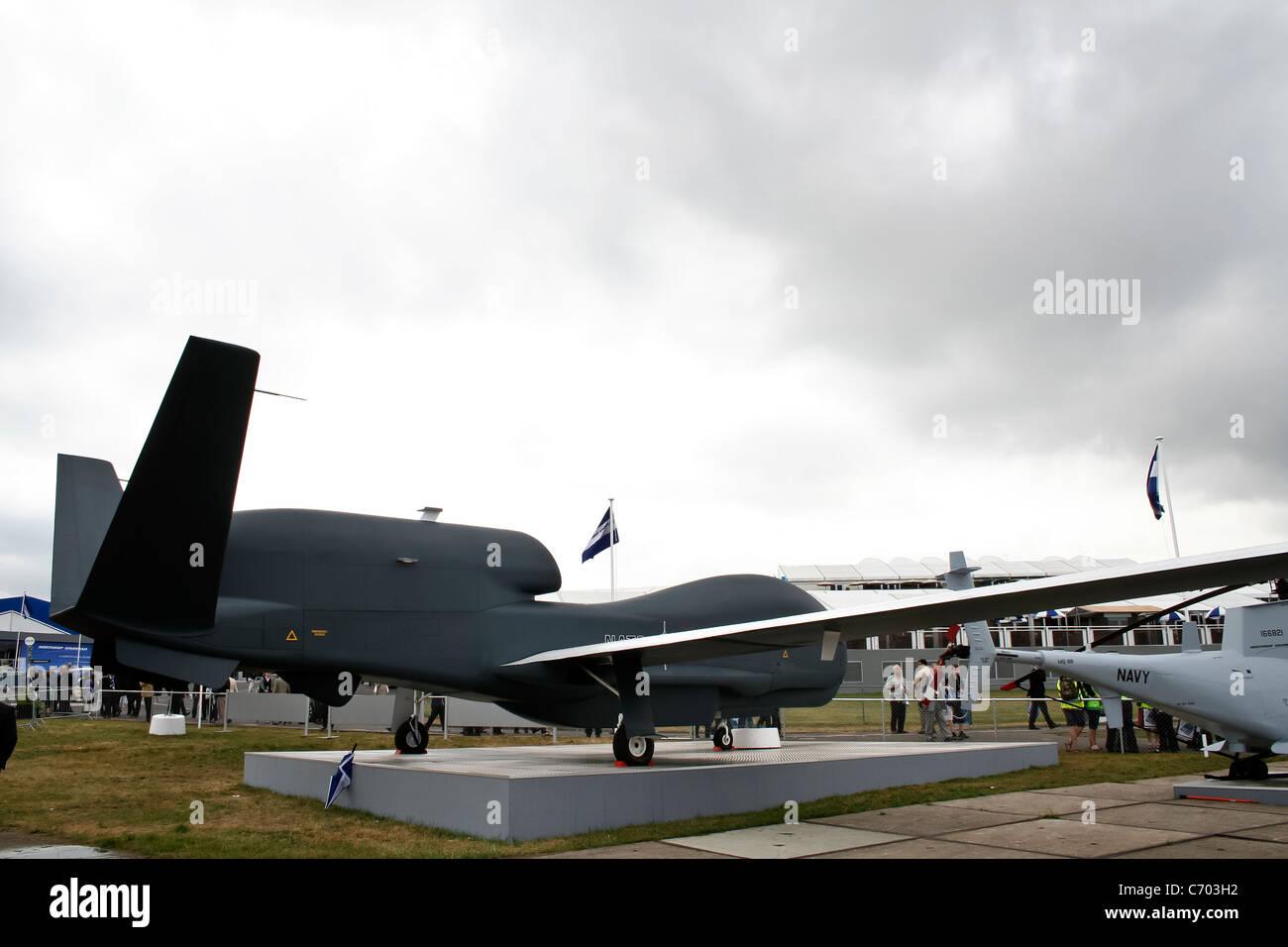 Northrop Grumman RQ-4 Global Hawk UAV (unmanned aerial vehicle) at the Farnborough International Airshow - Stock Image