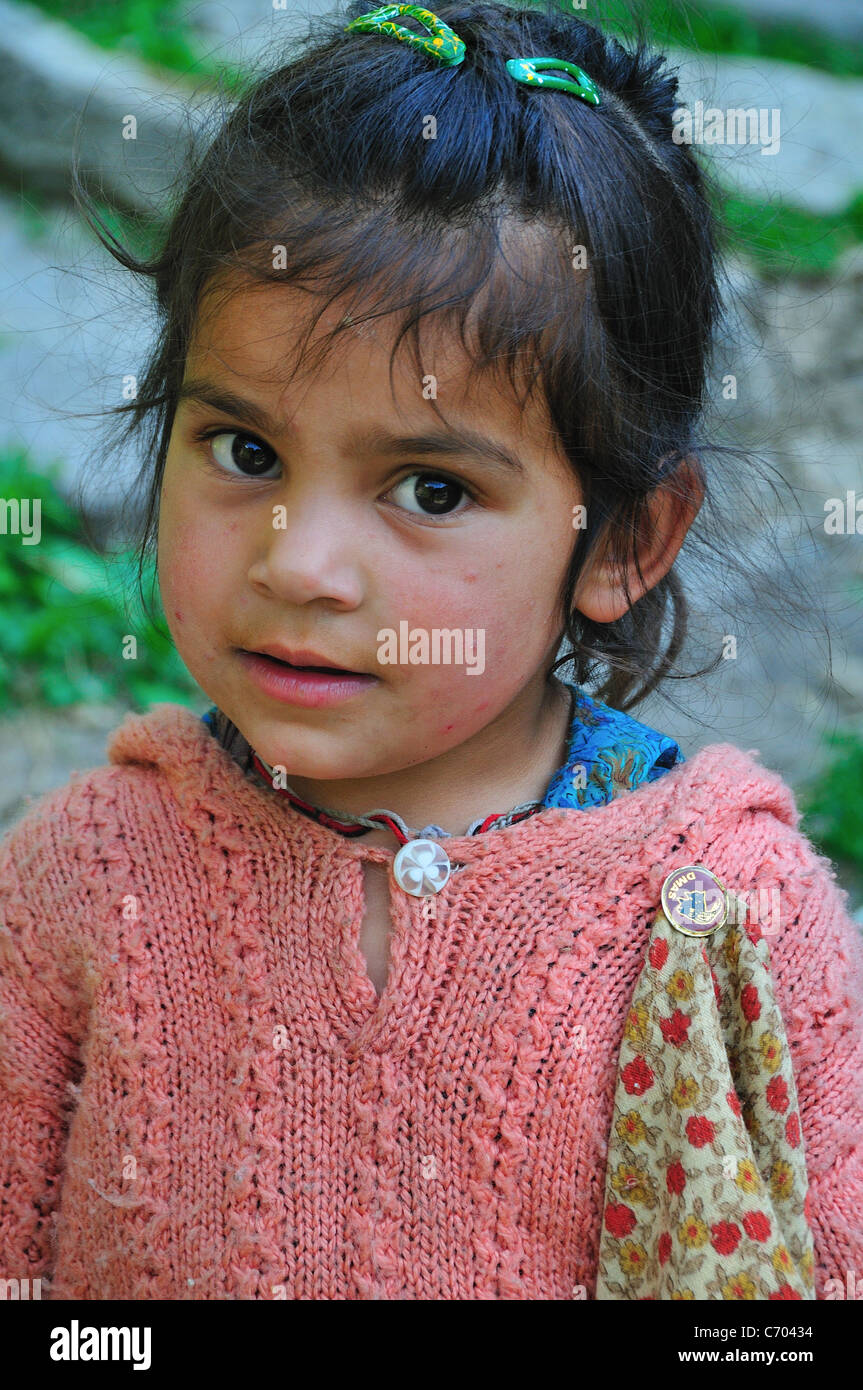 Little girl in the Old Manali village. - Stock Image