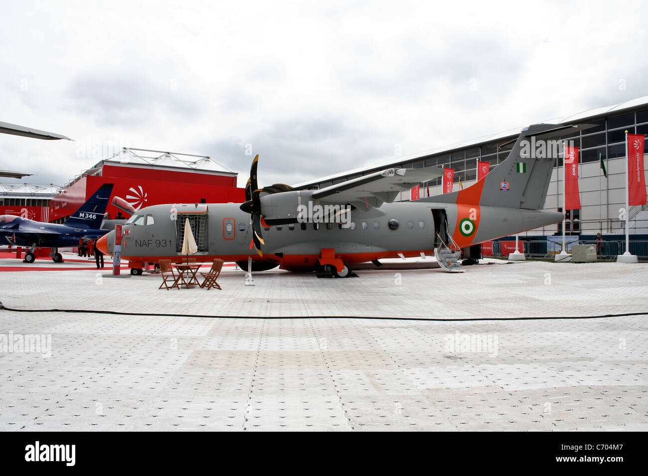 Nigeria Air Force ATR 42-500MP Surveyor at the Farnborough International Airshow Event July 23, 2010 in Farnborough, - Stock Image