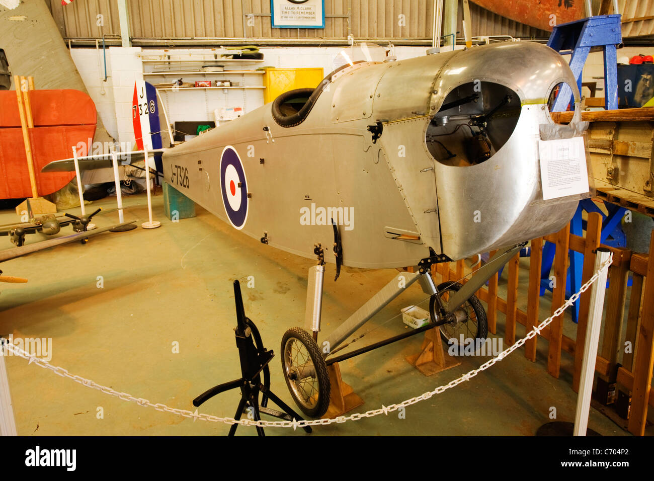 de Havilland Aircraft Heritage Centre Mosquito Museum DH53 Humming Bird first flown 1923/24 powered by 750 cc motor - Stock Image