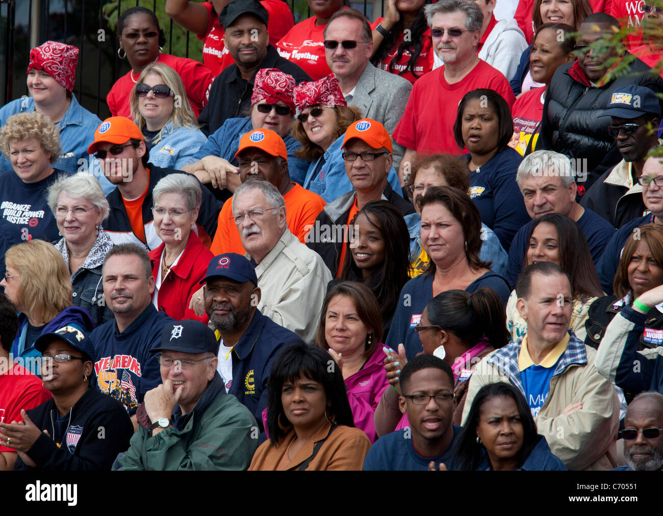 Detroit, Michigan - The crowd at a Labor Day rally waits to hear a speech by President Barack Obama. - Stock Image