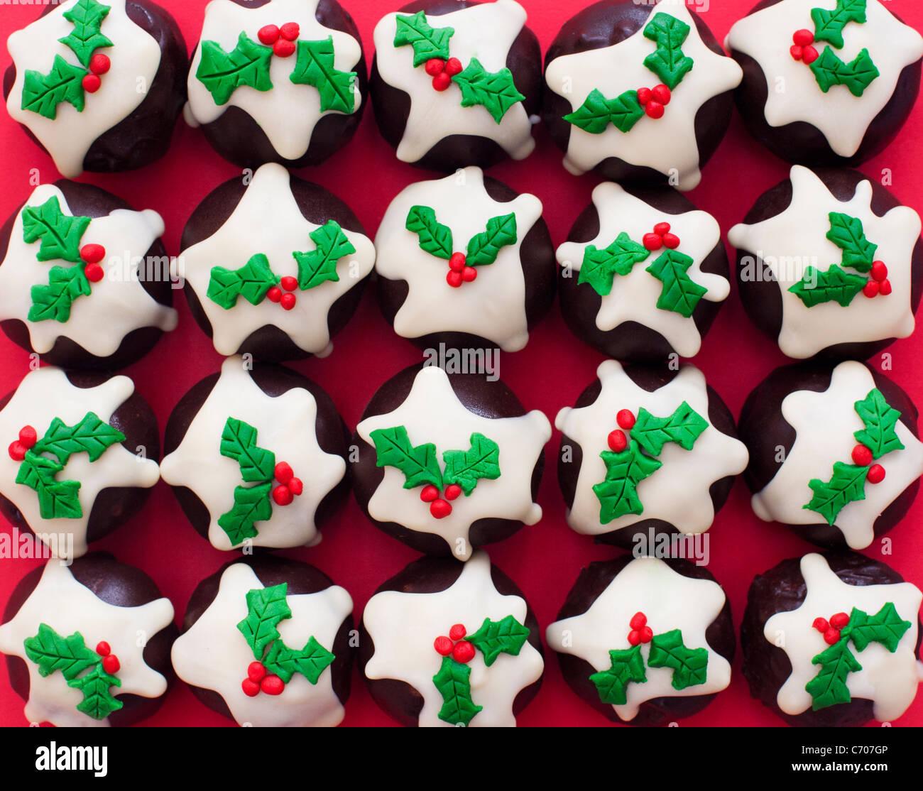 Homemade Christmas pudding chocolates - Stock Image