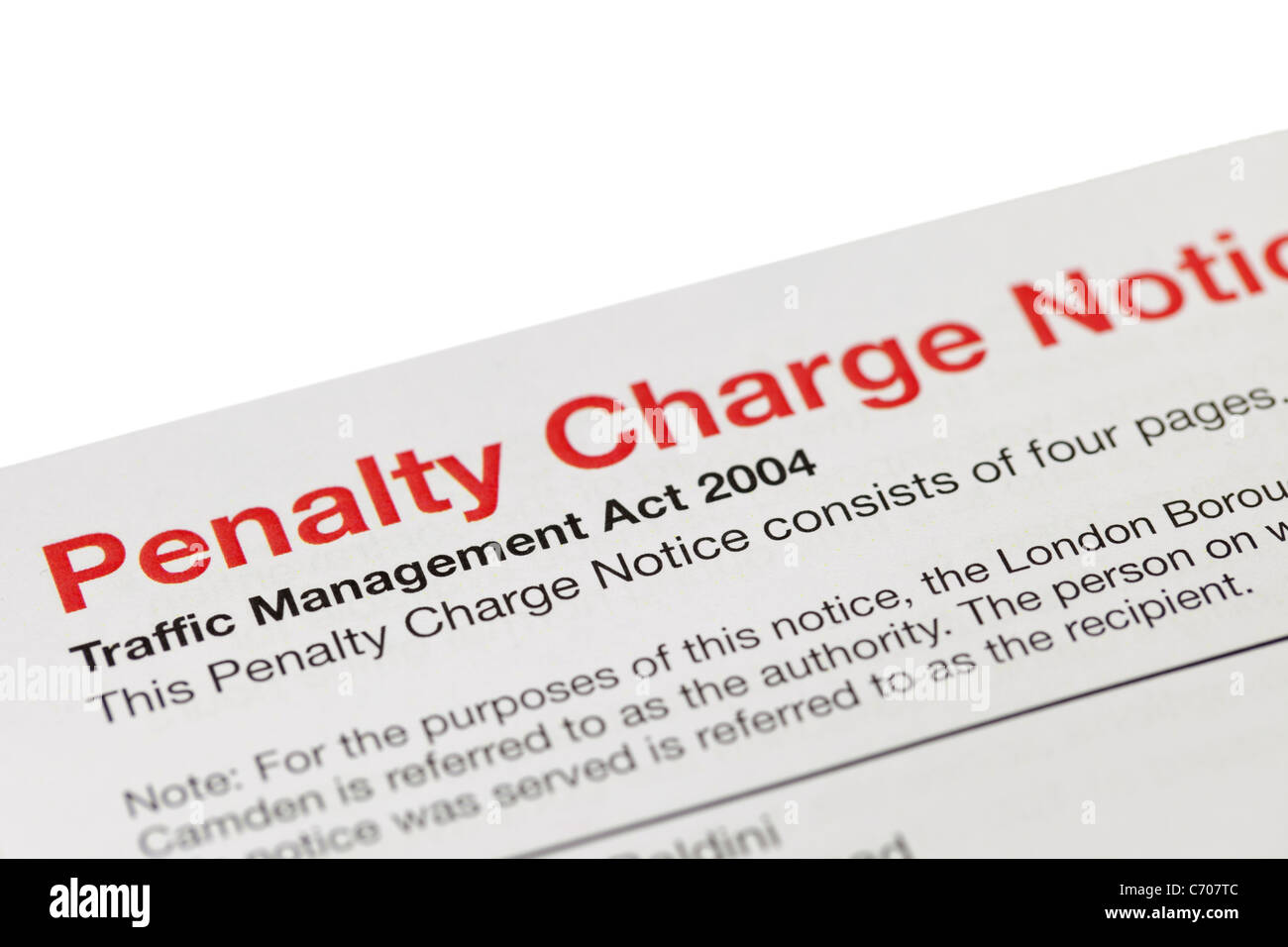 A penalty charge notice, UK - Stock Image