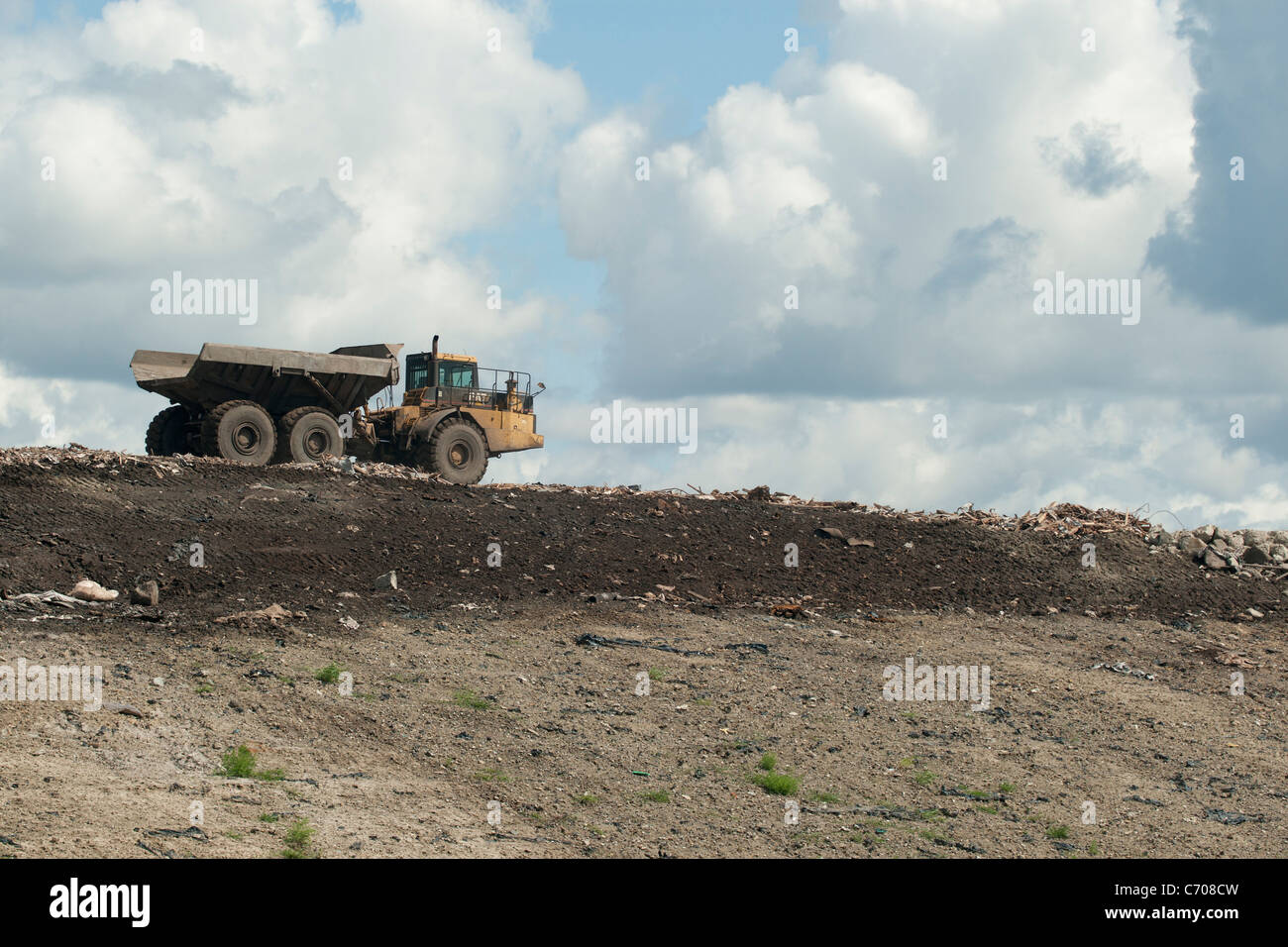 truck on landfill - Stock Image