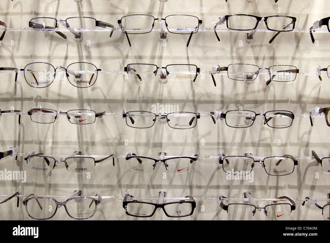 Eyeglasses, spectacles, on display at eye doctor office. - Stock Image