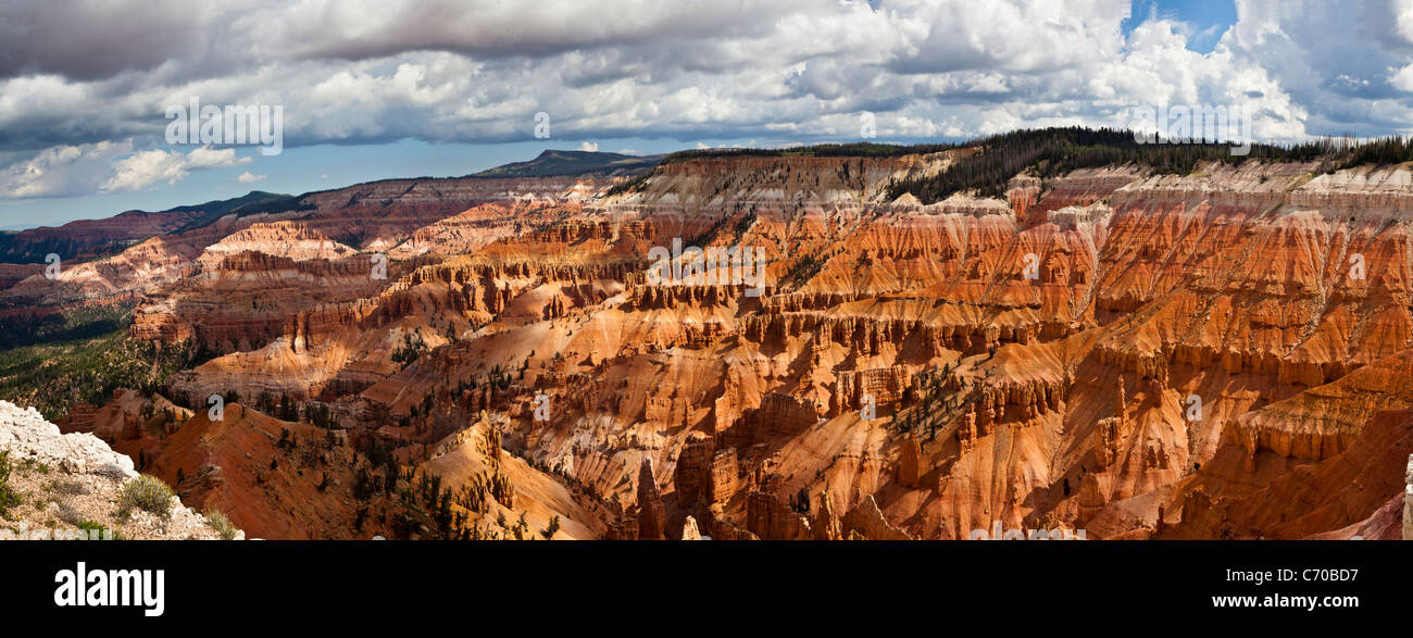 Panorama of red cliff formations in Cedar Breaks National Monument in Utah, at greater than 10,000 feet in altitude. - Stock Image
