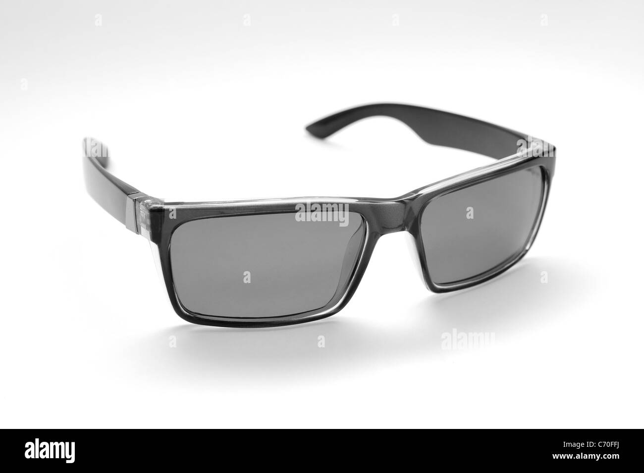 Retro-styled sunglasses isolated on white background. B&W - Stock Image