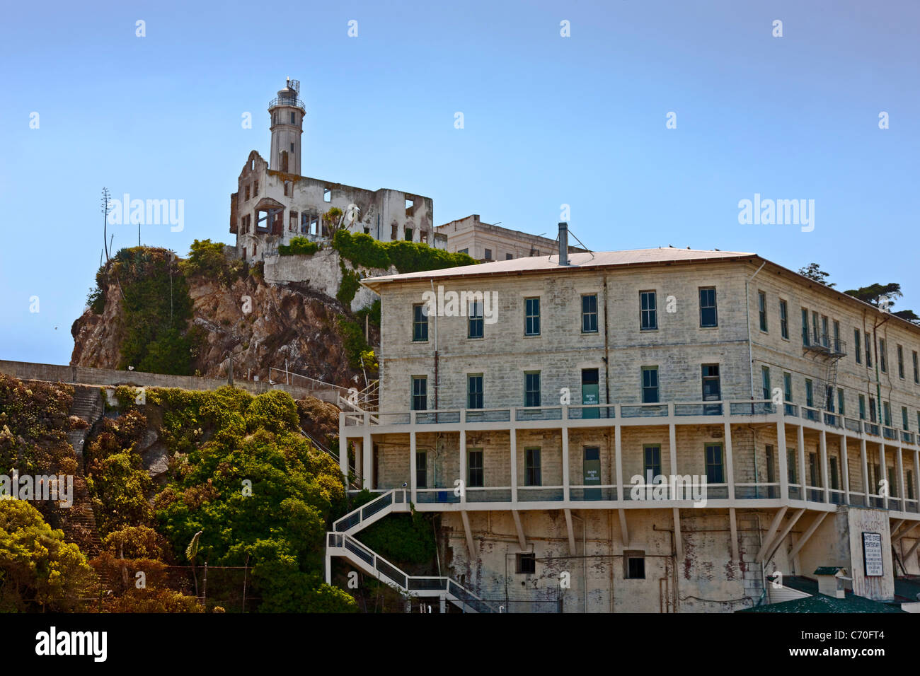 Building 64, Residential Apartments and Warden's House, Alcatraz Prison, Alcatraz Island, San Francisco Bay, CA, Stock Photo