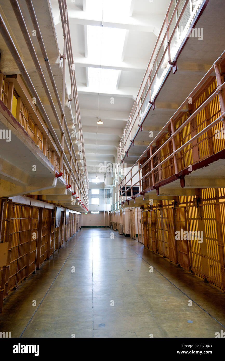 Prison cells in the main cellhouse at Alcatraz Prison, Alcatraz Island, San Francisco Bay, California, USA. JMH5241 - Stock Image