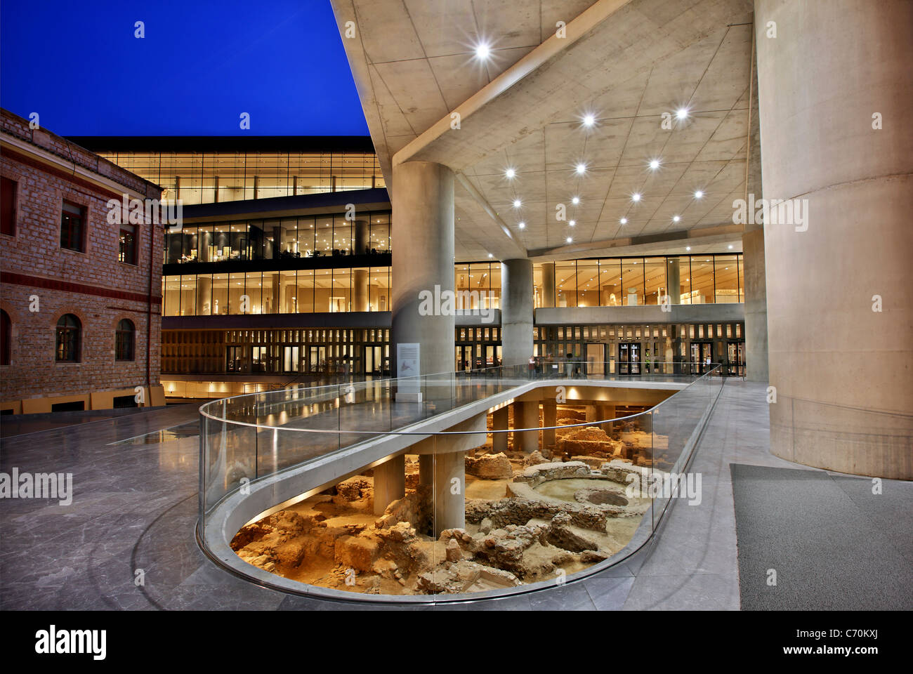 The New Acropolis Museum in the 'blue' hour. Athens, Greece - Stock Image