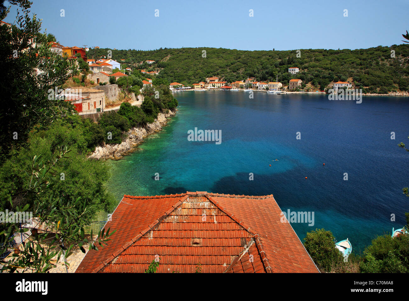 View of Kioni village, the most beautiful of Ithaca island, Ulisses' s homeland. Ionian sea, Greece - Stock Image