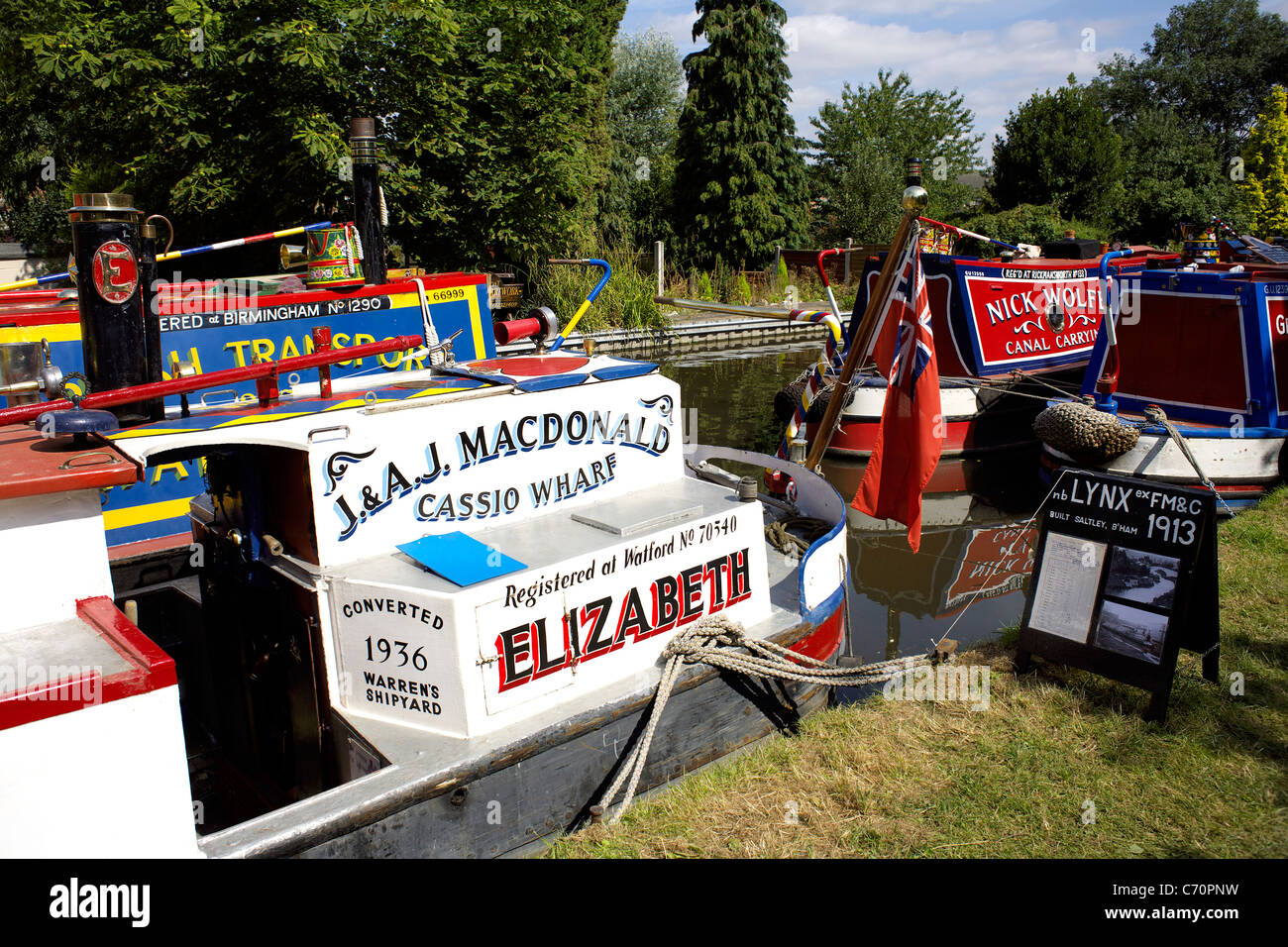 Colourfully painted narrowboats at the 2011 Inland Waterways Festival, at Burton on Trent, England, UK, GB, Great, - Stock Image